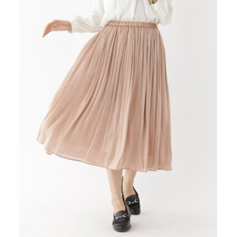 aquagirl/アクアガール シャイニーサテンギャザースカート ブロンズ(008) 38(M)