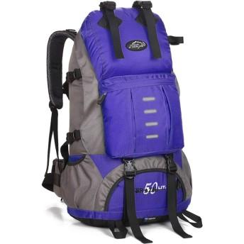 サイクリングバックパック Minternal Frame 50Lバックパック防水ハイキングデイパックバックパックパッド入りバックサポート&クッションレインカバーW/防水レインカバー男性用女性 メンズランニングサイクリングバックパック (Color : Blue, Size : 603025cm)