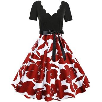 AMAZACER レディースドレスファッション花柄ワンピースドレス深いV襟ノースリーブセレーションカラーハイウエストラインスリムノットファッションイブニングスタイルのドレスを印刷します (Color : Red03, Size : XXL)