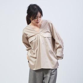 qualite(カリテ)/Vネックフラップポケットシャツ