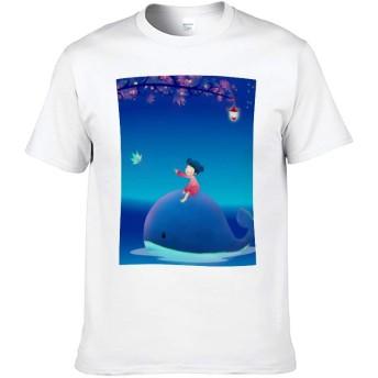 両面プリントメンズ半袖Tシャツ アニメ少女とイルカ Double-sided Printing of Short-sleeved T-shirt color52 M