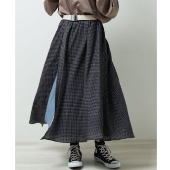 【ダブルネーム/DOUBLE NAME】 アシメスリットオリジナル花柄スカート