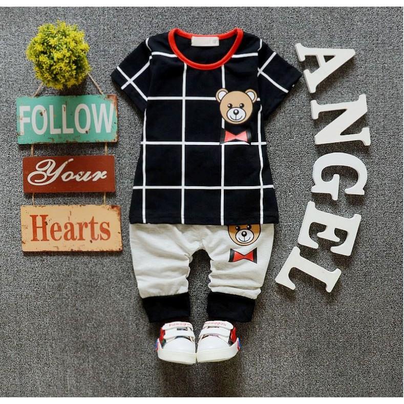 【蜜雅兒童坊】童裝-新款男童熊熊格子上衣+褲子 兩件套裝 新品上市-EB0004