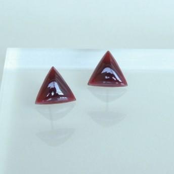 七宝焼ピアス【三角/赤紫】