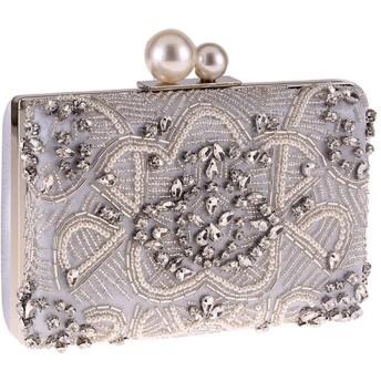 パーティーバッグ イブニングクラッチ財布パールクラッチバッグ名士パーティドレスバッグチェーンバッグ女性のバッグショルダー斜めのダイヤモンドがちりばめられました パーティー結婚式デートの夜街での夜に最適です (色 : Silver, Size : One size)