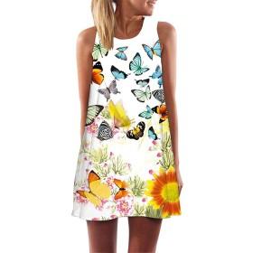 AMAZACER 女子ラウンドネックプリントノースリーブのAラインドレスの気質タイプパーティードレス (Color : White, Size : S)