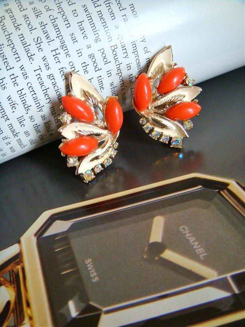西洋古董 美國 ART 琺瑯羽翼珊瑚夾式耳環 VINTAGE 時尚珠寶飾品