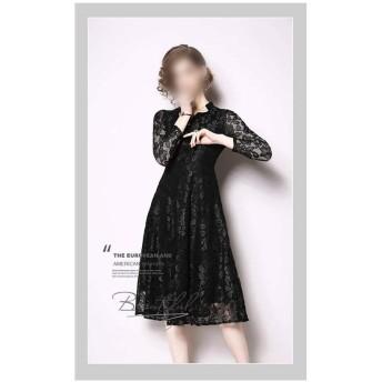 Jtydj レースのVネックロングスカートファッションスリムスリムロングドレス (色 : ブラック, サイズ : 2XL)