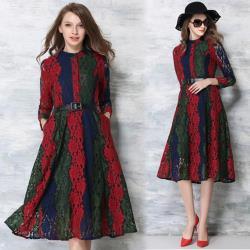 【KEITH-WILL】(預購)精緻蕾絲撞色大擺洋裝