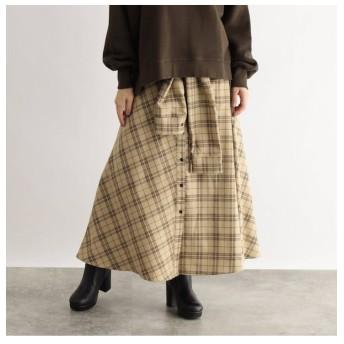 【オゾック/OZOC】 [洗える]チェック切替スカート