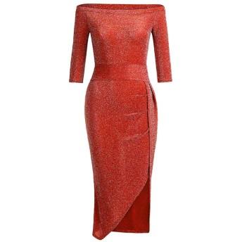 AMAZACER ドレススパンコールワンショルダーワードラップヒップ前面スリット1ワード襟ドレスキラキラドレスディナードレス (Color : Wine Red, Size : M)
