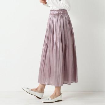 光沢で華やかな印象◎シャイニーサテン消しプリーツロングスカート