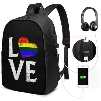 Stacked Love LGBT Hats With Adjustable Fashion Design USBバックパッククラシックコンピューターバッグ17インチラップトップバックパック旅行ビジネスラップトップバックパックユニセックス大容量で耐久性のあるバックパック