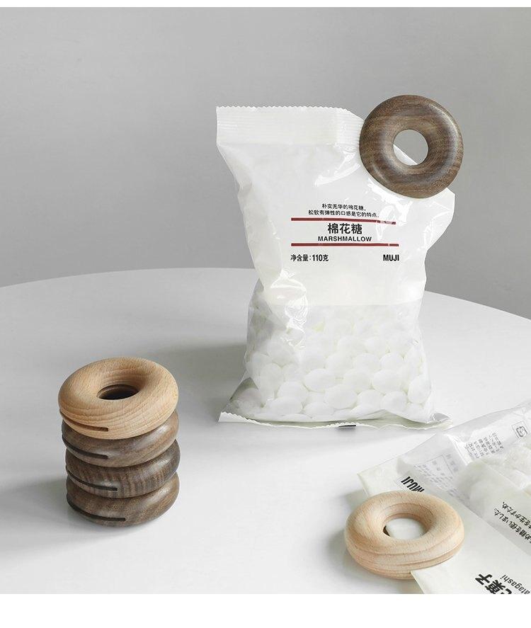 北歐創意木質甜甜圈密封夾子零食封口夾食品包裝袋封口條