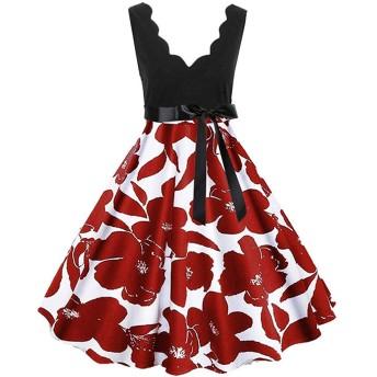 AMAZACER レディースドレスファッション花柄ワンピースドレス深いV襟ノースリーブセレーションカラーハイウエストラインスリムノットファッションイブニングスタイルのドレスを印刷します (Color : Red02, Size : L)