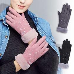 幸福揚邑-麂皮加絨雪地保暖防風機車觸控手套-雪花(灰、黑、粉)