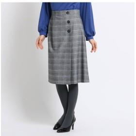 【スーナウーナ/SunaUna】 【洗える】ツイルチェックラップ風スカート