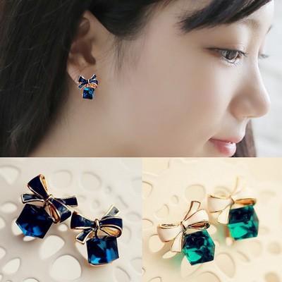 韓國經典不敗 氣質甜美妖精蝴蝶結方塊水晶耳環 耳飾 NH006