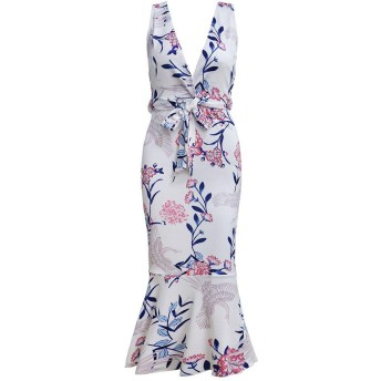 WDSFT 女性のドレスのファッションセクシーな印刷フリルレースのドレススリムペンシルスカート春夏新 (Color : 4, Size : XL)