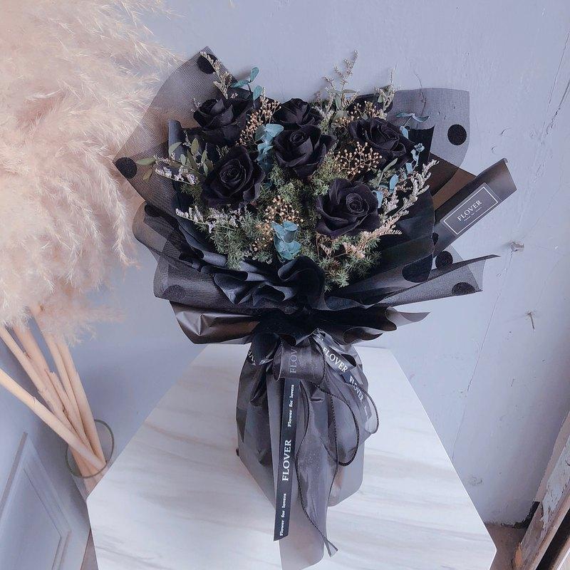 黑玫瑰永生花束(6朵)