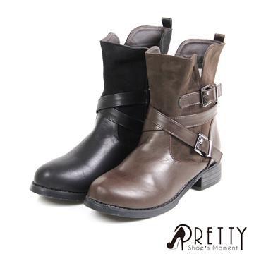 Pretty 個性異材質拼接繞踝釦飾內側拉鍊低跟中筒靴 BA-20540