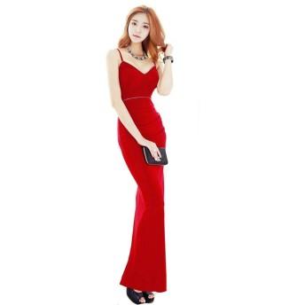 [KimBerley] ワンピース ノースリーブ ロング丈 M 赤 ラインストーン ロングドレス ドレスライン ファッション セクシー スリット