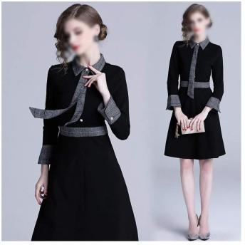 Jtydj 秋の女性のドレス人形のドレスエレガントな気質レトロ風のドレス (色 : ブラック, サイズ : XL)