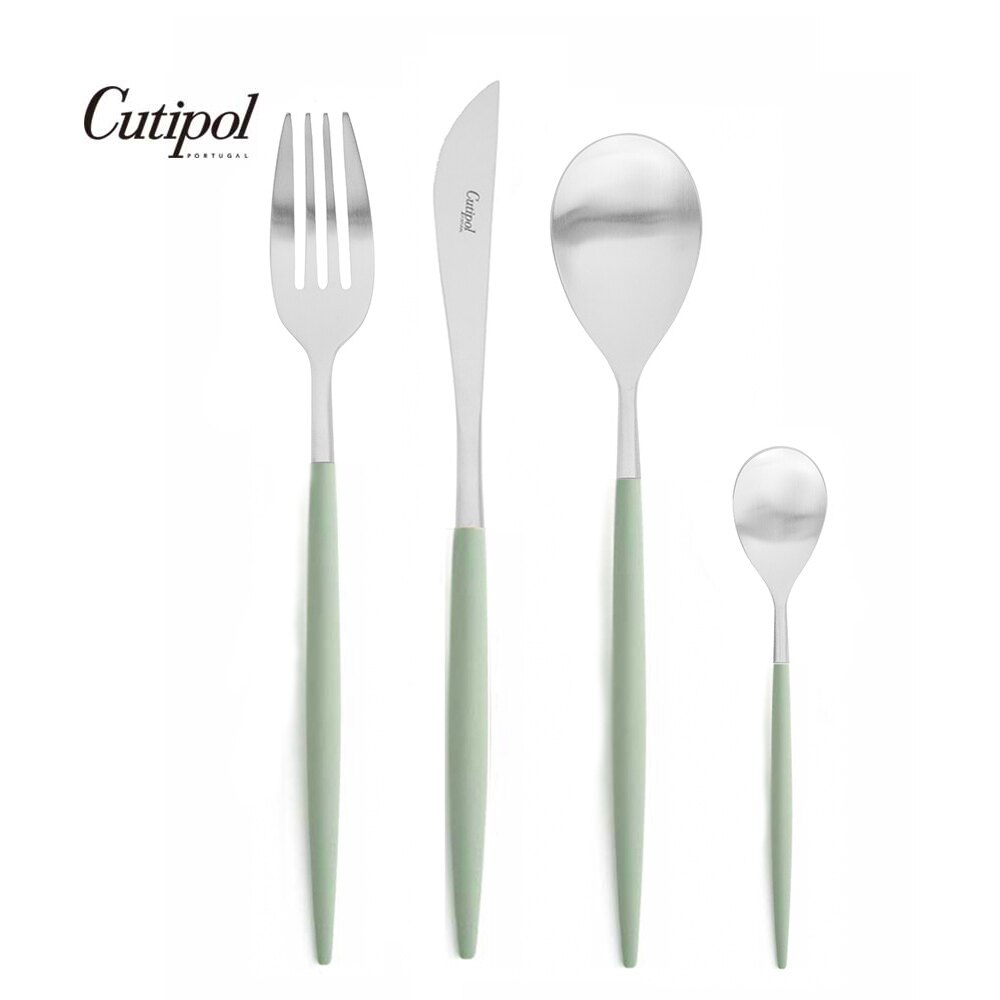 葡萄牙 Cutipol MIO系列個人餐具4件組-主餐刀+叉+匙+咖啡匙 (青玉銀)