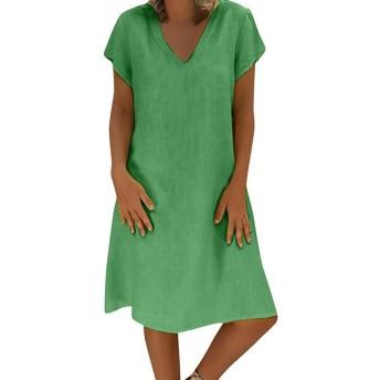 AMAZACER 女性英国のカジュアル夏のスタイルFeminino VESTIDO Tシャツ綿プラスサイズの女性服春夏2019年のためのドレス (Color : Grass Green, Size : L)