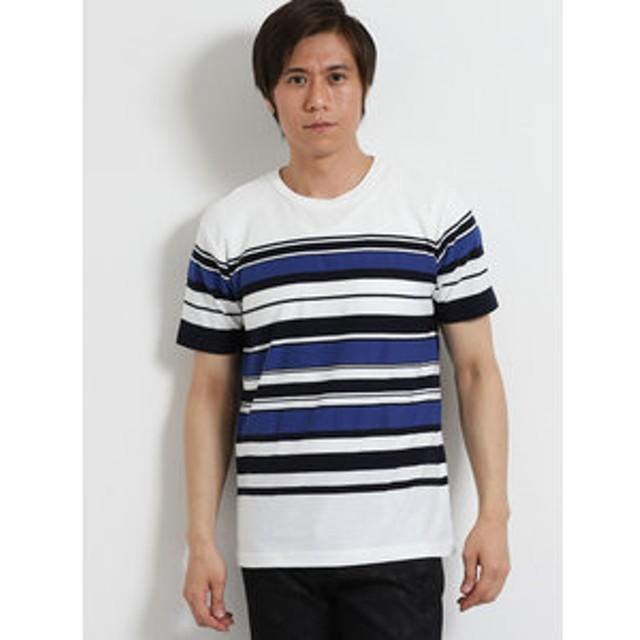 【m.f.editorial:トップス】パネルボーダー クルーネック半袖Tシャツ