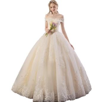 ウェディングドレス ドレス 結婚式 女性オフショルダーフローラルレースアップリケ床の長さのブライダルボールガウンのウェディングドレスエレガントなコルセットQuinceaneraのドレス ウエディングドレス 披露宴 花嫁衣装 (Color : White, Size : XXL)