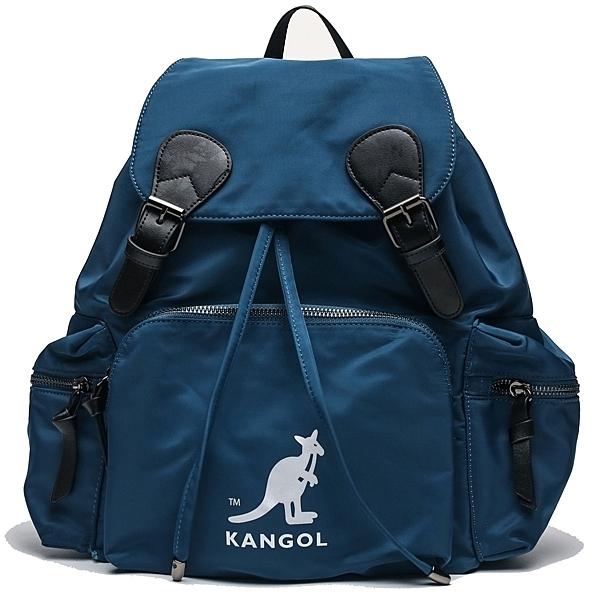KANGOL 土耳其藍 旅行包 後背包 拉鍊 抽繩 素色 (布魯克林) 6955320182