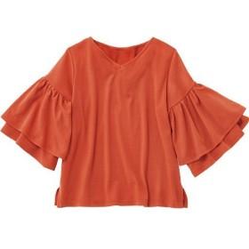 50%OFF【レディース】 袖フリルカットソー - セシール ■カラー:ダークオレンジ ■サイズ:M,L,LL