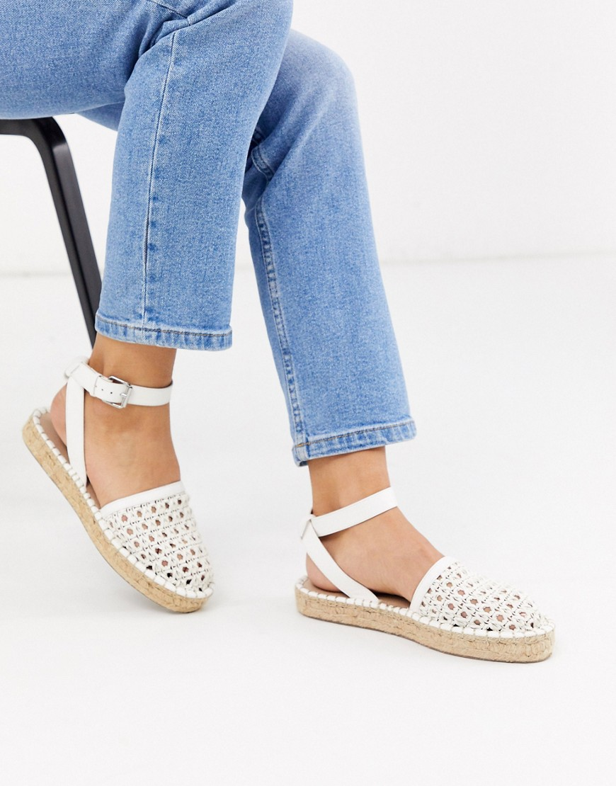 ASOS DESIGN Junction woven espadrille flat sandals in white