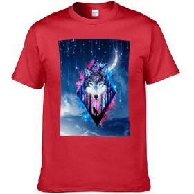 欧米風コットンメンズ半袖Tシャツ Double-sided Printing of Short-sleeved T-shirt ギャラクシーウルフ color5 2XL