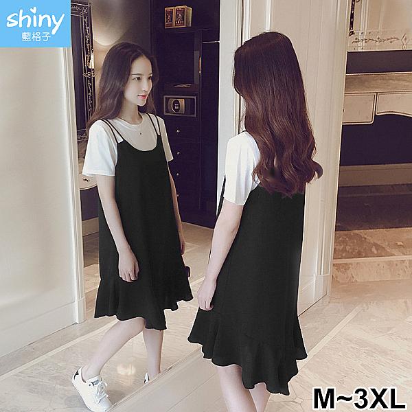【V2461】shiny藍格子-小清新‧圓領短袖上衣吊帶連身裙兩件式套裝