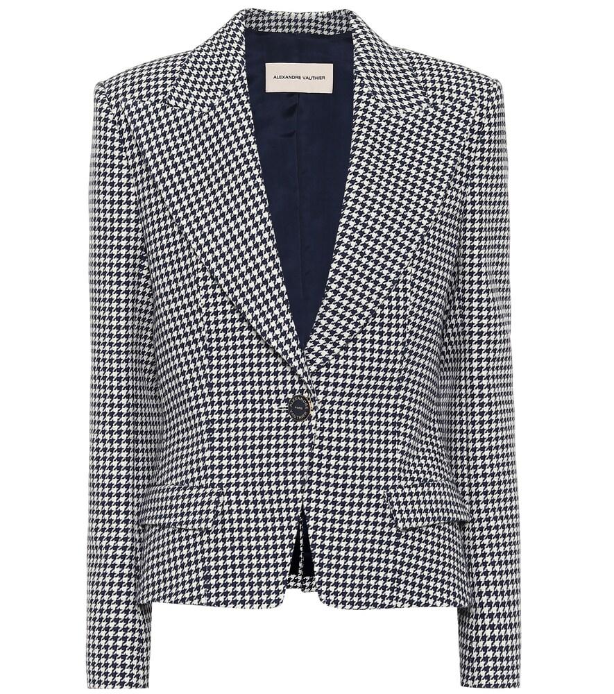 Houndstooth cotton-blend blazer