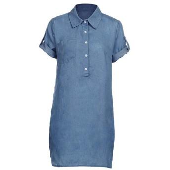 AMAZACER 女性英国のカジュアル半袖ドレスソリッドデニムドレスのためのドレスは、カラーのミニドレスターンダウン (Color : Blue, Size : M)