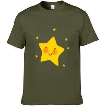 スタースマイル Double-sided Printing of Short-sleeved T-shirt コットンメンズ半袖Tシャツ、両面印刷、アジアサイズ color76 M