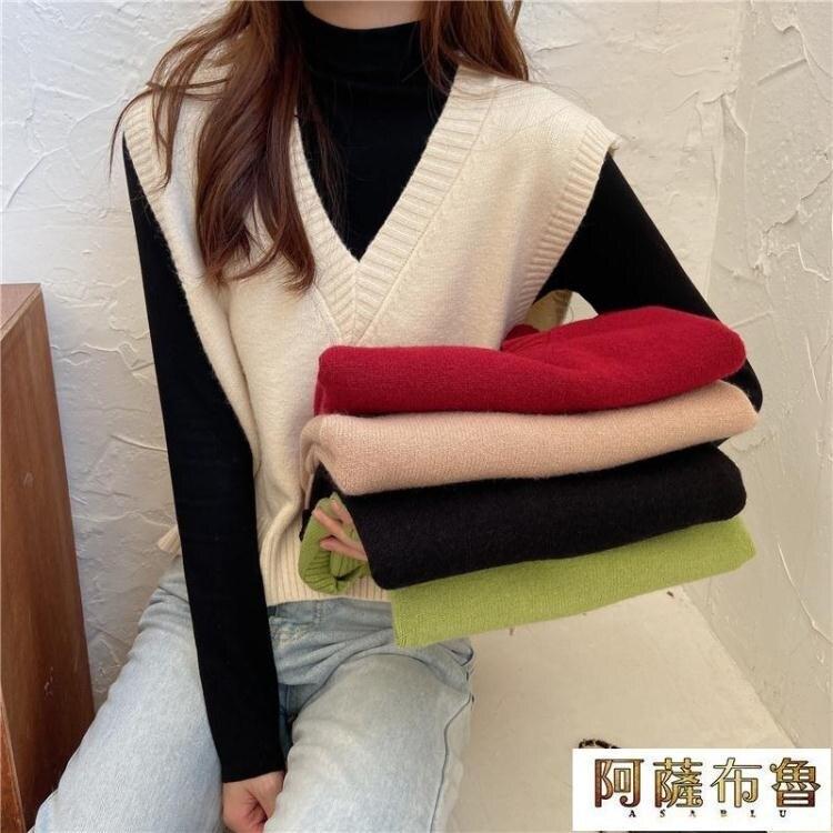 背心 秋冬韓版新款寬鬆V領套頭毛衣背心女外搭網紅洋氣無袖針織衫