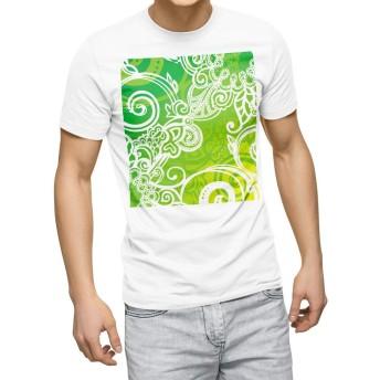igsticker プリント Tシャツ メンズ 3XL XXXL サイズ size おしゃれ クルーネック 白 ホワイト t-shirt 005223 フラワー 緑 植物 イラスト