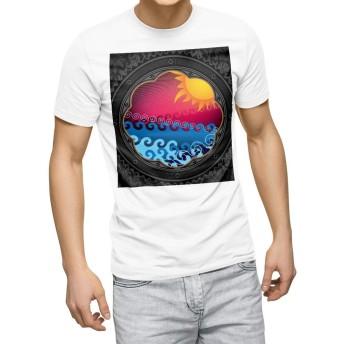 igsticker プリント Tシャツ メンズ 3XL XXXL サイズ size おしゃれ クルーネック 白 ホワイト t-shirt 005857 その他 太陽 海 イラスト