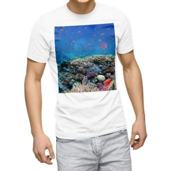igsticker プリント Tシャツ メンズ 3XL XXXL サイズ size おしゃれ クルーネック 白 ホワイト t-shirt 011697 海 珊瑚 写真