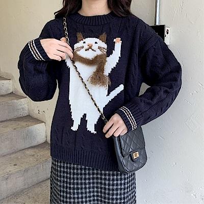 DABI 韓國學院風貓咪立體圍脖針織毛衣長袖上衣