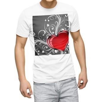 igsticker プリント Tシャツ メンズ 3XL XXXL サイズ size おしゃれ クルーネック 白 ホワイト t-shirt 002958 ラブリー ハート 花 グレー