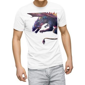 igsticker プリント Tシャツ メンズ 3XL XXXL サイズ size おしゃれ クルーネック 白 ホワイト t-shirt 009923 恐竜 シンプル