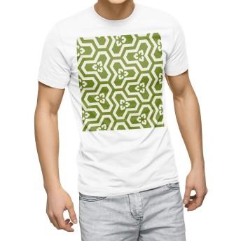 igsticker プリント Tシャツ メンズ 3XL XXXL サイズ size おしゃれ クルーネック 白 ホワイト t-shirt 003764 チェック・ボーダー 和風 和柄 緑