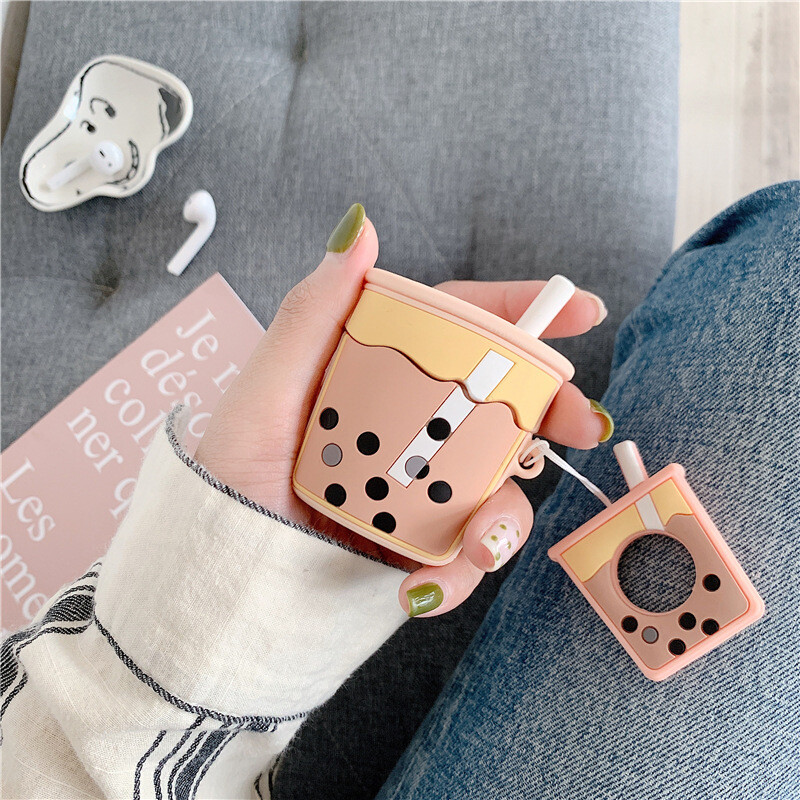 ins 珍珠奶茶造型 airpods保護套 矽膠 蘋果耳機套 適用1/2代 可愛日韓系列