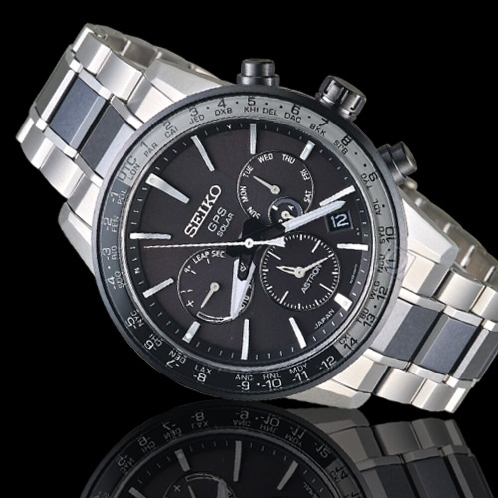SEIKO精工ASTRON GPS 5X53雙時區鈦金屬腕錶 5X53-0AD0D SSH011J1 黑銀色