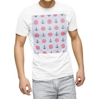 igsticker プリント Tシャツ メンズ 3XL XXXL サイズ size おしゃれ クルーネック 白 ホワイト t-shirt 011961 いかり マリン 夏